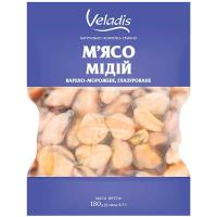 Мідії Veladis м`ясо варено-морожене глазуроване 180г