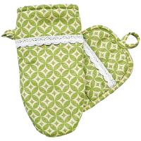 Набір Зелена зірка рукавичка і прихватка з мережкою