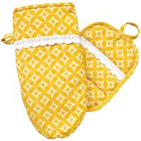 Набір Жовта зірка рукавичка і прихватка з мережкою