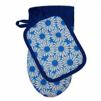 Набір Прованс рукавичка +прихватка ромашки на синьому