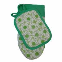 Набір Прованс рукавичка +прихватка ромашки на зеленому