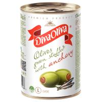 Оливки Diva Oliva зелені з анчоусом ж/б 300г