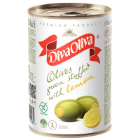 Оливки Diva Oliva зелені з лимоном ж/б 314мл