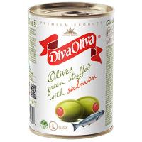 Оливки Diva Oliva зелені з сьомгою з/б 300г