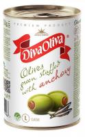 Оливки Diva Oliva зелені з анчоусом ж/б 314мл