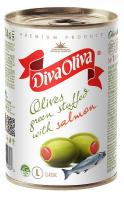 Оливки Diva Oliva зелені з сьомгою з/б 314мл