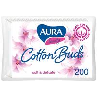 Палички ватні Aura Beauty п/е 200шт.