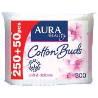 Палички ватні Aura Beauty п/е 250+50шт.