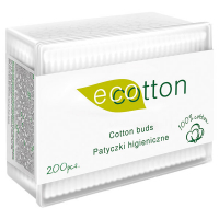 Палички ватні Ecotton 200шт. прямокутна пласт.коробка