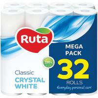 Туалетний папір Ruta Classic Crystal White Білий, 32 шт.