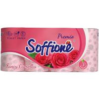 Папір туалетний Soffione рожевий 3-х шаровий 8шт.