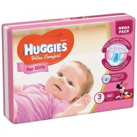 Підгузники Huggies Ultra Comfort для дівчат 5-9кг 80шт.