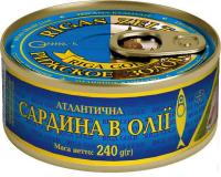 Сардина Рижское золото Атлантична в олії ключ 240г х36