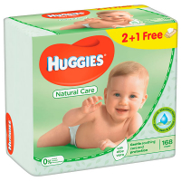 Серветки Huggies Natural Care дитячі вологі 2+1шт