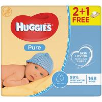 Дитячі серветки вологі гігієнічні Huggies Pure 2+1, 168 шт.