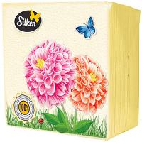 Серветки паперові столові Silken 24*24см Кольорові, 100 шт.