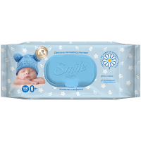Дитячі серветки вологі гігієнічні Smile Baby Ромашка та Алое, 100 шт.