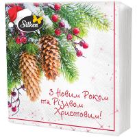 Серветки паперові сервірувальні Silken Новорічні 33*33см, 16 шт.