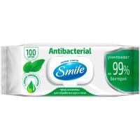 Серветки вологі Smile Antibacterial з подорожникам 100шт.