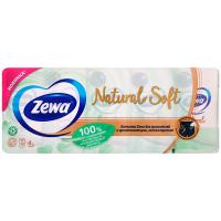 Хустинки носові паперові Zewa Natural Soft, 10 пачок