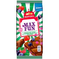 Шоколад Корона MaхFun з полуницею-малини-чорниці 160г