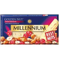 Шоколад Millennium білий з ціл.ліс.горіхом і журавлиною 100г