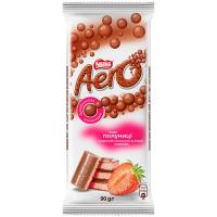 Шоколад Nestle Aero молочний та білий пористий полуниця 90г