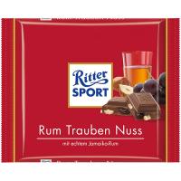 Шоколад Ritter Sport ром, родзинки та горіх 100г