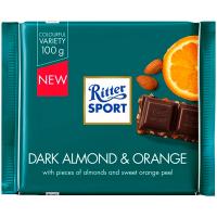 Шоколад Ritter Sport темний з мигдалем, горіхом та апельсином 100г