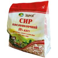 Сир кисломолочний Зарог 10% п/е 400г