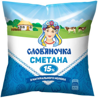 Сметана Слов`яночка 15% плівка 380г