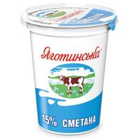 Сметана Яготин 15% стакан 350г