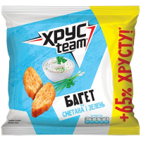 Сухарики Хрус Team XXL Багет Сметана та зелень 100г