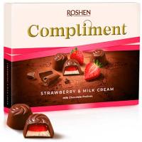 Цукерки Roshen Comliment з полунично-молочною начинкою 123г