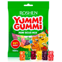 Цукерки Roshen Yumm! Gummi mini bear mix 100г