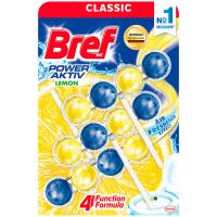 Туалетний блок Bref Сила-Актив 4в1 Лимонна свіжість, 3 шт.