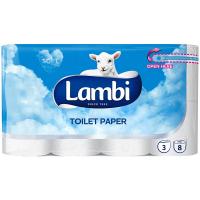 Туалетний папір Lambi Soft Білий, 8 шт.
