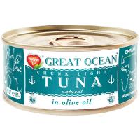 Тунець Great Ocean цілий в оливковій олії ж/б 185мл