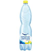 Вода мінеральна Карпатська джерельна сильн/газ лимон 1,5л х6
