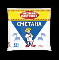 Сметана Веселий Пастушок 15% п/е 400г