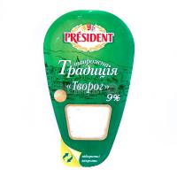 Сир President кисломолочний Творог 9% 250г