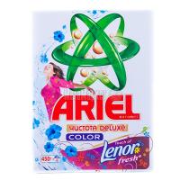 Пральний порошок для кольорових тканин Ariel Чистота DeLuxe Color +Lenor fresh Automat, 450 г