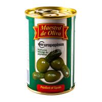 Оливки Маэстро дэ Олива зелені на огірочках 300г х12