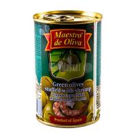 Оливки Маэстро дэ Олива зелені з креветкою 300г х12