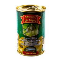 Оливки Маэстро дэ Олива зелені з сьомгою 300г х12