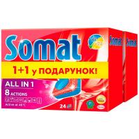 Засіб Somat All in 1 для посудомийних машин 2*24табл.
